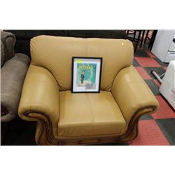 CAMEL TONE WOOD TRIM SOFA CHAIR
