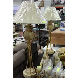 PAIR OF TALL DESIGNER LAMP, WROUGHT IRON STYLE