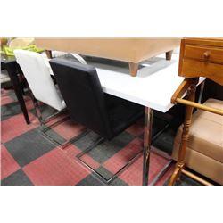 CHROME LEG TABLE W 4 BLACK AND WHITE SIDECHAIRS