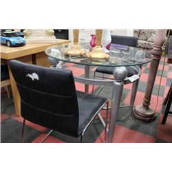 NEW METAL AND GLASS TABLE W 2 BLACK LEATHER CHAIRS