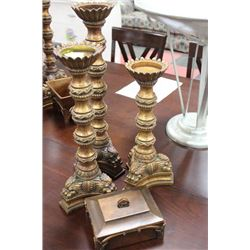 SET OF THREE CANDLE PEDESTALS, WITH JEWEL BOX
