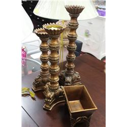SET OF THREE CANDLE PEDESTALS, WITH FLOWER POT