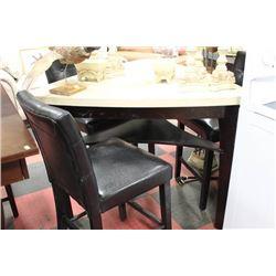 TRIANGULAR FAUX GRANITE TOP TABLE W 3 BLACK