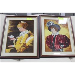 PAIR OF NEEDLE POINT PICTURES X2