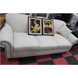 WHITE FABRIC SOFA (WATER STAIN ON ARM)
