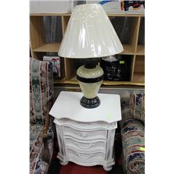 WHITE 3 DRAWER NIGHT STAND SOLD W TABLE LAMP