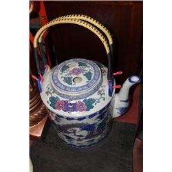 LARGE ORIENTAL PORCELAIN TEA POT PLANTER