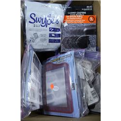 BOX OF MAGNETIC ORGANIZERS CARPET CASTERS ETC.