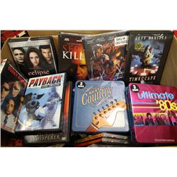 BOX OF ASSORTED DVD'S & CD'S