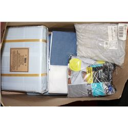 BOX OF NEW QUEEN SIZE SHEETS ETC.