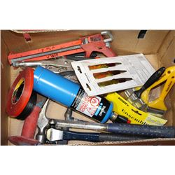 BOX OF HAMMERS, CHISELS, VICE GRIPS & TORCH