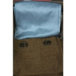 BOX OF CURTAINS & BLANKET