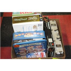 BOX OF GAMES INCLUDING POKER SET