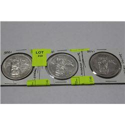 1958 CANADIAN SILVER DOLLAR COINS X3