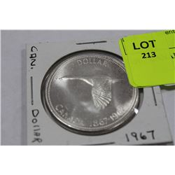 1967 CANADA SILVER DOLLAR COIN
