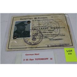 GERMAN THIRD SS DIVISION TOTENKOPF ID CARD