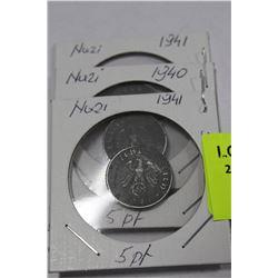 NAZI 5 PFENING COINS, 1940/41 X3
