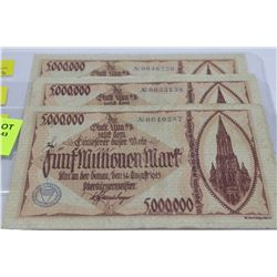 1923 GERMAN 5 MILLION MARK NOTE X3 WITH SERIAL