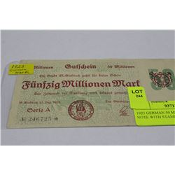 1923 GERMAN 50 MILLION MARK NOTE WITH STAMP AND