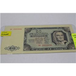 1948 POLAND $20 BILL