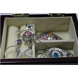 "JEWELLERY BOX W/ CONTENTS 5"" X 2"""