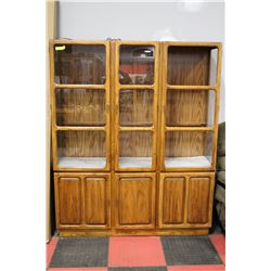 SOLID WOOD CHINA CABINET, WITH GLASS SHELVING