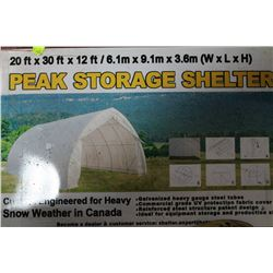NEW 20' X 30' X 12' PEAK STORAGE SHELTER