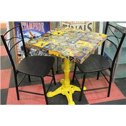 YELLOW CAST IRON MEXICAN STYLE TABLE W/ 2 CHAIRS