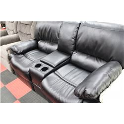 BLACK LEATHER RECLINING CONSOLE LOVE SEAT