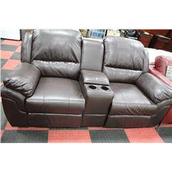 BROWN LEATHER RECLINING CONSOLE LOVE SEAT