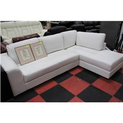WHITE LEATHERETTE 'L' SHAPED SECTIONAL