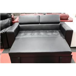 BLACK LEATHER PULL OUT LOVE SEAT