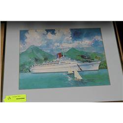 ESTATE FRAMED SHIP PICTURE