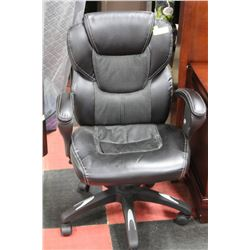 BLACK LEATHER OFFICE CHAIR W/ ADJUSTABLE ARMS