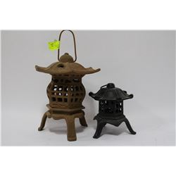 PAIR OF CAST IRON LANTERNS