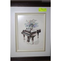 ESTATE PIANO NEEDLEPOINT PICTURE