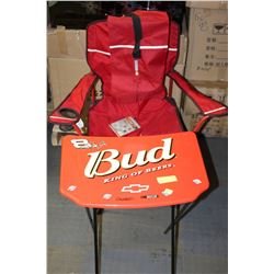 BUD BEER FOLDING STAND AND CHAIR
