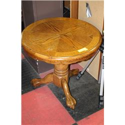 SOLID OAK CLAW FOOT SIDE TABLE