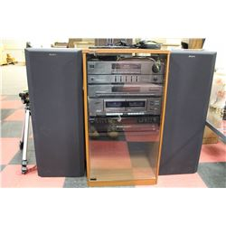 SONY STEREO SYSTEM W/ 5 CD PLAYER, CASSETTE,
