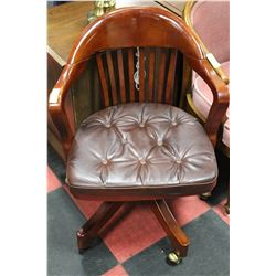 ESTATE WOOD AND LEATHERETTE OFFICE CHAIR