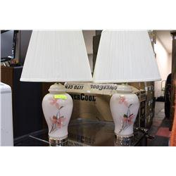 PAIR OF ESTATE FLORAL LAMPS