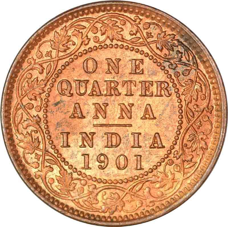 Copper One Quarter Anna of Calcutta Mint of 1901