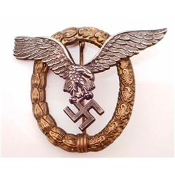 GERMAN NAZI LUFTWAFFE PILOT OBSERVER AVIATOR BADGE