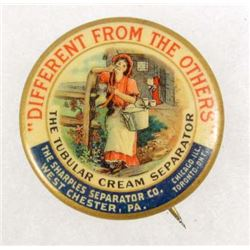 EARLY TUBULAR CREAM SEPARATOR ADVERTISING CELLULOID PINBACK BUTTON