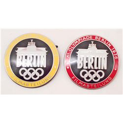 LOT OF 2 GERMAN NAZI 1936 OLYMPIC GAMES BADGES
