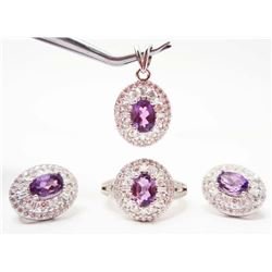 STERLING SILVER AMETHYST JEWELRY SET