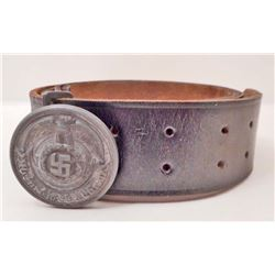 GERMAN NAZI WAFFEN OFFICERS BELT BUCKLE AND LEATHER BELT