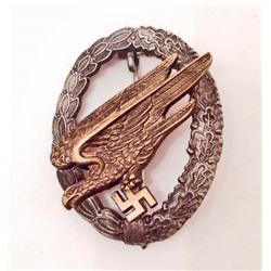 GERMAN NAZI LUFTWAFFE PARATROOPER FALLSSCHIRMJAGER JUMP BADGE