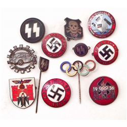 LOT OF GERMAN NAZI PARTY PINS & STICK PINS