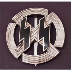 GERMAN NAZI SILVER WAFFEN SS DOUBLE RUNIC SERVICE BADGE